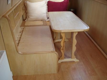 Double berth seating with folding table