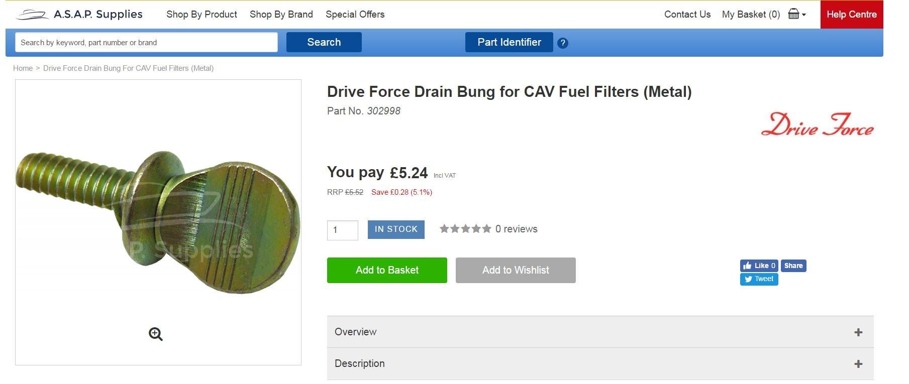 Vetus Fuel Filter equivalent STM3690 Metal or Plastic Drain