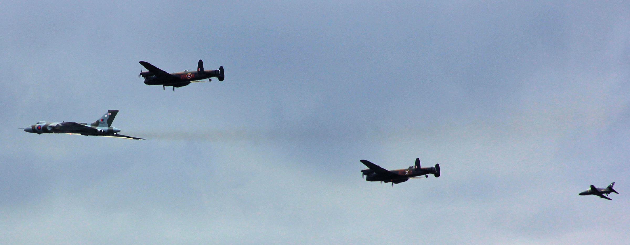 Two Lancs and a Vulcan flying.JPG